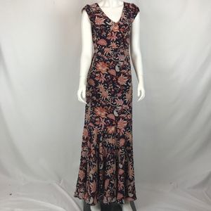 LEIFSDOTTIR Anthro Silk Bruna Floral Maxi Dress 0